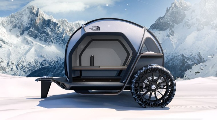 The conceptual camper shows off the technologies of automotive design, automotive tire, automotive wheel system, car, motor vehicle, rim, tire, travel trailer, vehicle, wheel, gray