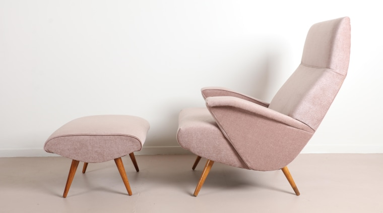 Mr. Bigglesworthy – Bob Roukema Armchair and Ottoman chair, comfort, design, furniture, pink, white
