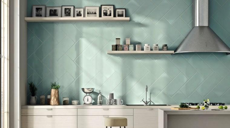 The Calx collection of Italian wall tiles is countertop, interior design, kitchen, shelf, wall, gray