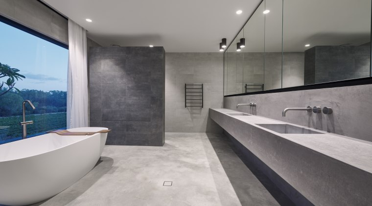 A prominent use of concrete in this master