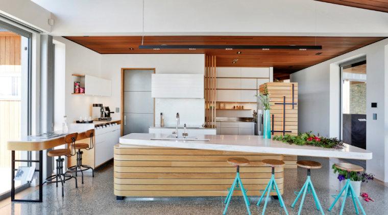 Concrete floors are a durable, contemporary option countertop, cuisine classique, house, interior design, kitchen, real estate, gray, white