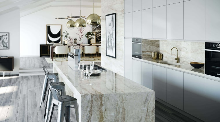 Dekton Kitchen – Arga - architecture | black-and-white architecture, black-and-white, building, cabinetry, ceiling, countertop, design, floor, flooring, furniture, home, house, interior design, kitchen, kitchen stove, marble, material property, monochrome photography, property, room, tile, wall, white, white