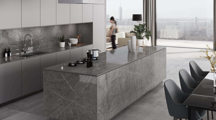 Dekton Kitchen – Korso architecture, building, cabinetry, countertop, floor, flooring, furniture, gloss, home, interior design, kitchen, marble, material property, property, room, table, tile, wall, gray, black