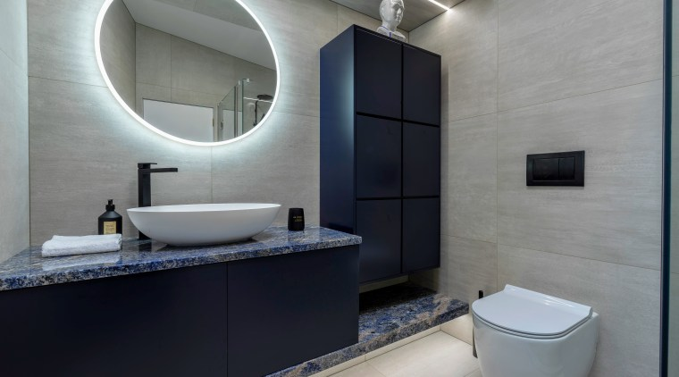 Utilising the full width of the room for bathroom, bathroom accessory, interior design, room, sink, gray, black
