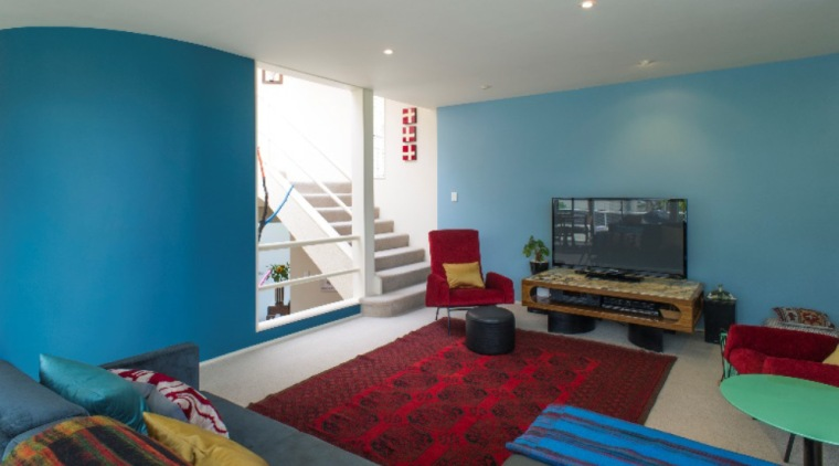 Photo by Mark Heaslip; design by Debra Yearsley architecture, bedroom, blue, home, house, interior design, living room, property, real estate, room, teal