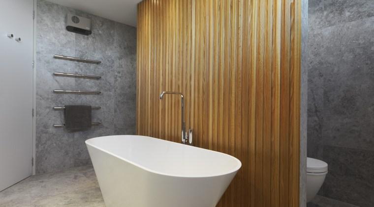 Designer Ingrid Geldof included stone and timber to bathroom, floor, interior design, plumbing fixture, tile, gray