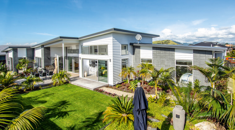 Fowler homes image - architecture | building | architecture, building, estate, facade, grass, home, house, land lot, landscape, landscaping, property, real estate, residential area, roof, tree, teal