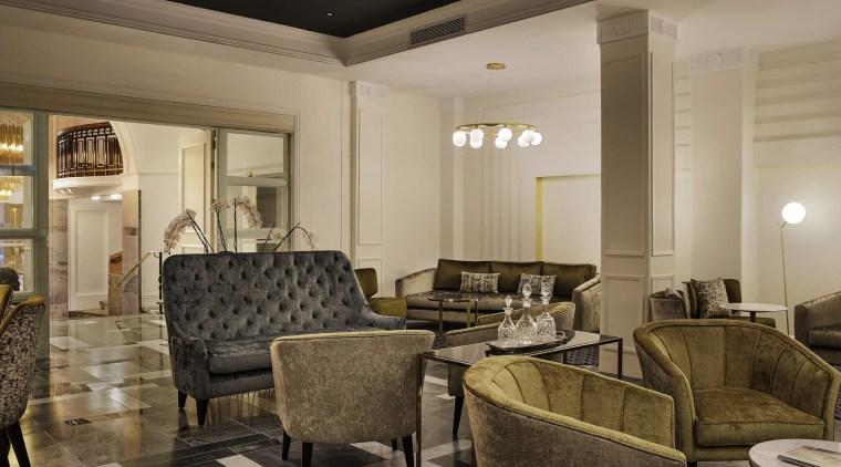 Grand Windsor Hotel lobby ceiling, interior design, living room, lobby, black, brown, orange