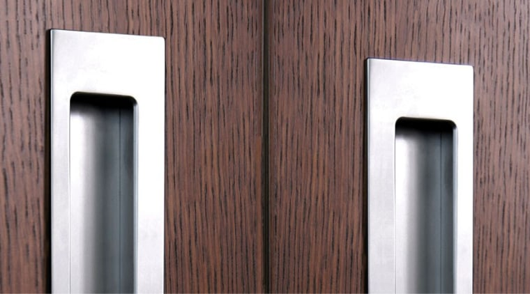 Flush pulls are a great way to give door handle, wood, gray, red