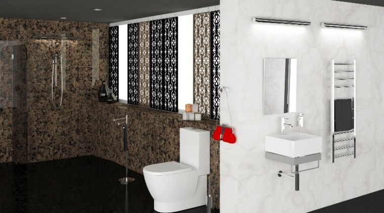 Heirloom Gallery bathroom, floor, flooring, interior design, room, tile, wall, black, white