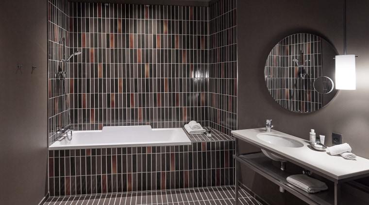 Luxury boutique hotel's industrial-chic bathrooms could inspire a architecture, bathroom, black, ceiling, ceramic, floor, flooring, interior design, plumbing fixture, property, room, sink, tap, tile, black
