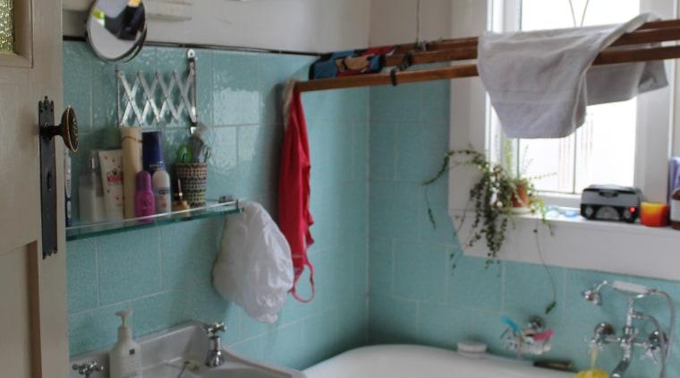 The original main bathroom bathroom, countertop, floor, furniture, home, house, interior design, plumbing fixture, room, sink, table, window, gray