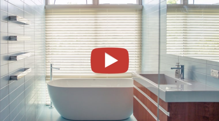 Kamermans Architects Bathroom video button - architecture | architecture, bathroom, bathtub, building, daylighting, floor, flooring, interior design, material property, plumbing fixture, property, real estate, room, tile, window, window blind, window covering, window treatment, white, gray