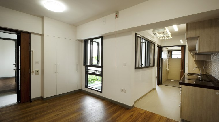 Kampung Admiralty  floor, flooring, hardwood, house, interior design, property, real estate, room, wood flooring, gray, brown
