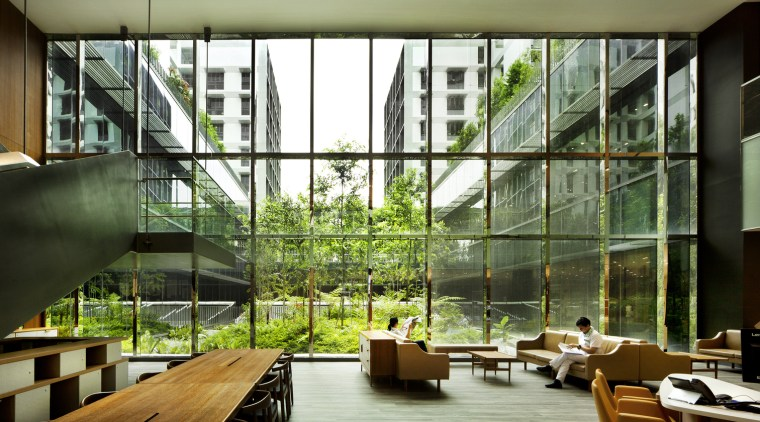 Kampung Admiralty  apartment, architecture, condominium, daylighting, house, interior design, lobby, mixed use, window, brown, green