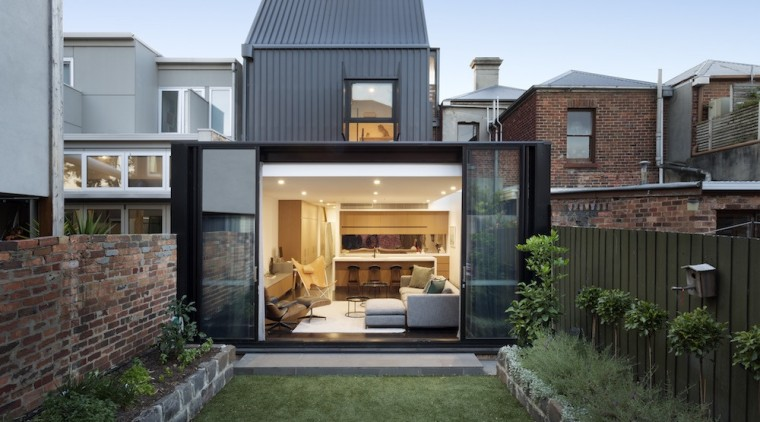 The new built form is clothed in a architecture, backyard, courtyard, elevation, estate, facade, home, house, property, real estate, residential area, gray, black