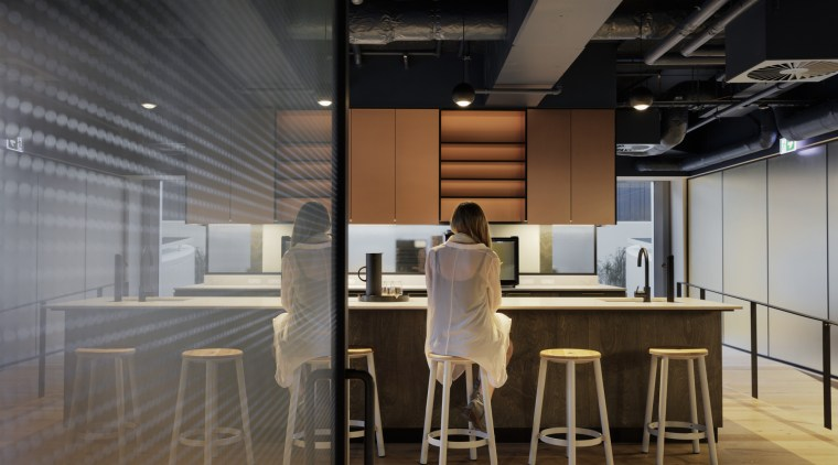 Kiwi Property – by Warren and Mahony architecture, bar stool, building, design, flooring, furniture, interior design, lighting, office, room, black, gray