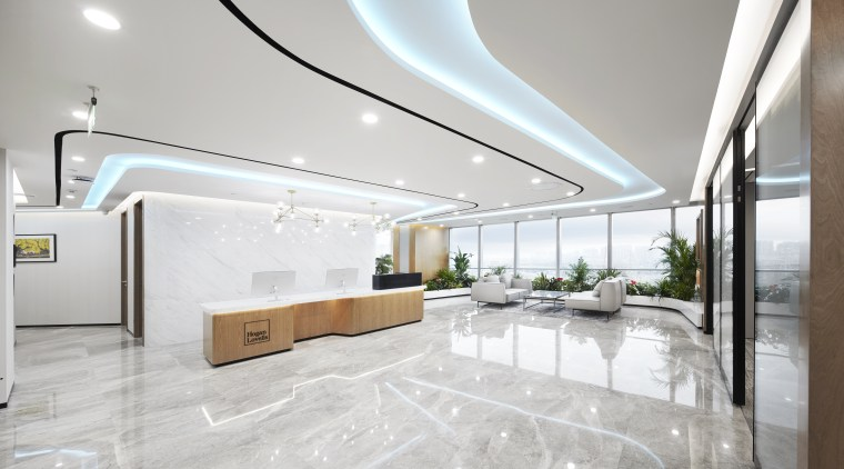 The reception, meeting rooms and business lounge can