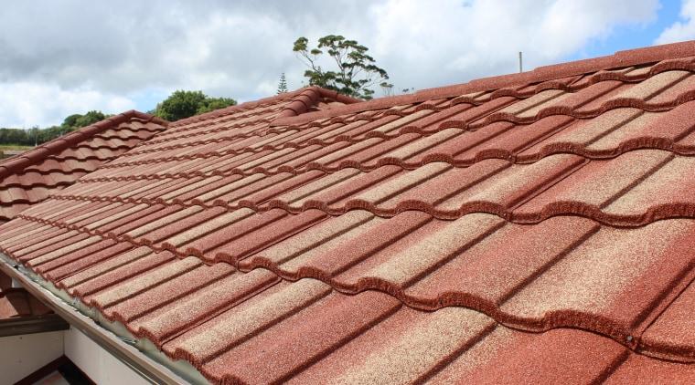 Metrotile Roof 1 brick, daylighting, facade, outdoor structure, roof, sky, wood, red, orange