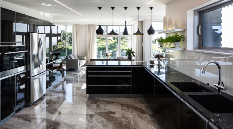 The required preparation, wash-up, serving areas and the countertop, cuisine classique, floor, flooring, interior design, kitchen, gray, black