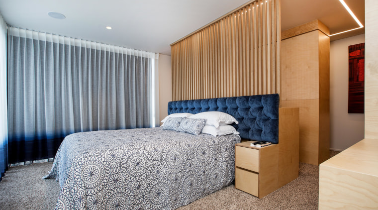 Layer upon layer – in this master suite, architecture, bed frame, bedroom, ceiling, home, interior design, real estate, room, suite, wall, grey, visual feature, dividing wall, organisation