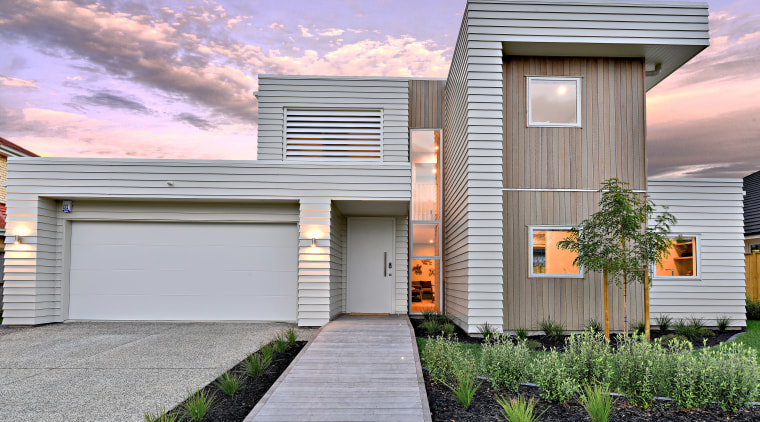 ​​​​​​​Warm welcome – at this Landmark Homes showhome, architecture, building, facade, home, house, residential, siding, sky, window, landmark homes, new home, exterior, timber cladding, Wakefield, showhome