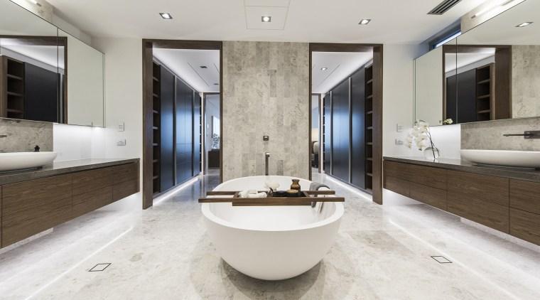 Divide and rule – parallel walk-through wardrobes provide bathroom, estate, floor, interior design, real estate, sink, white