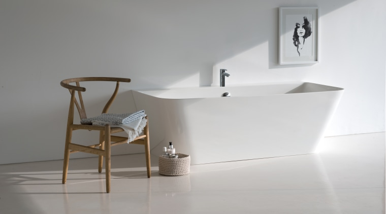 Want a freestanding tub but lack the space? angle, bathroom, bathroom sink, ceramic, floor, furniture, interior design, plumbing fixture, shelf, sink, tap, gray
