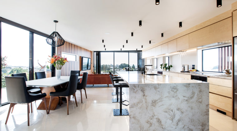 ​​​​​​​A beautiful marble waterfall countertop is a prominent architecture, home, house, interior design, kitchen, living room, benchtop, countertop, marble, timber cabinetry, Boon Team Architects