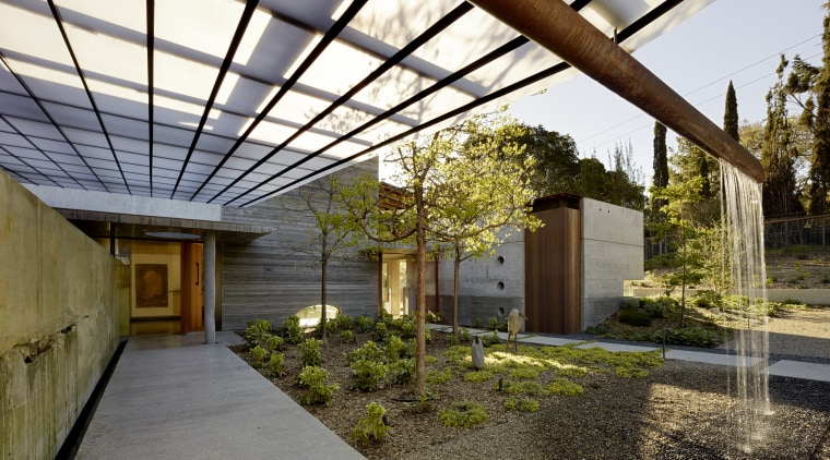 ​​​​​​​Polycarbonate roofing over the walkway to the front architecture, courtyard, home, house, outdoor structure, residential, Polycarbonate roofing, walkwayFuTung Cheng, Cheng Design