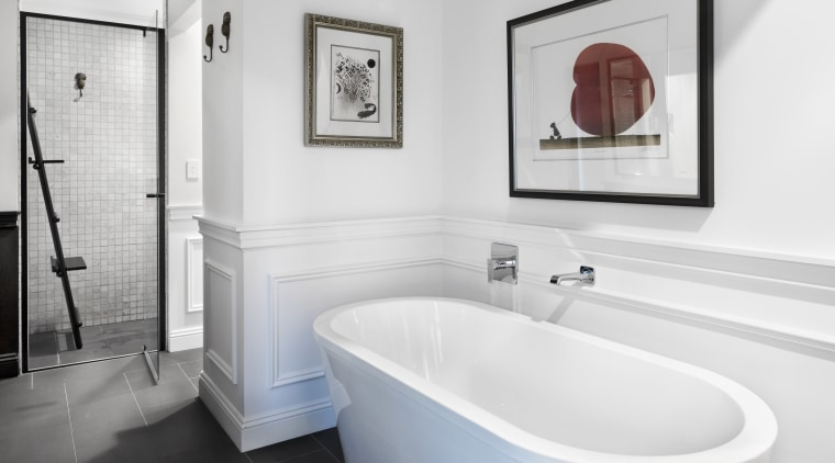 ​​​​​​​Even the artwork over the freestanding tub gets bathroom, bathroom accessories, tiled floor, bathroom design, plumbing fixtures, tap, white, Leon House