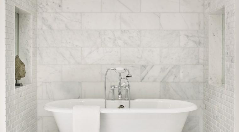 A freestanding bath tub with chunky chrome fittings bathroom, ceramic, floor, flooring, plumbing fixture, tap, tile, wall, white, Freestanding bath, Mark Williams Design