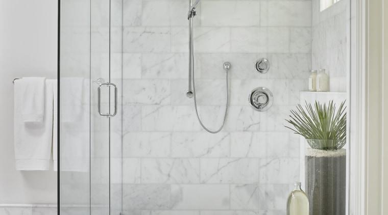 The large-sized shower in this master suite by bathroom, floor, plumbing fixture, shower, shower door, tap, tile, wall, bathroom designer, Mark Willaims Design