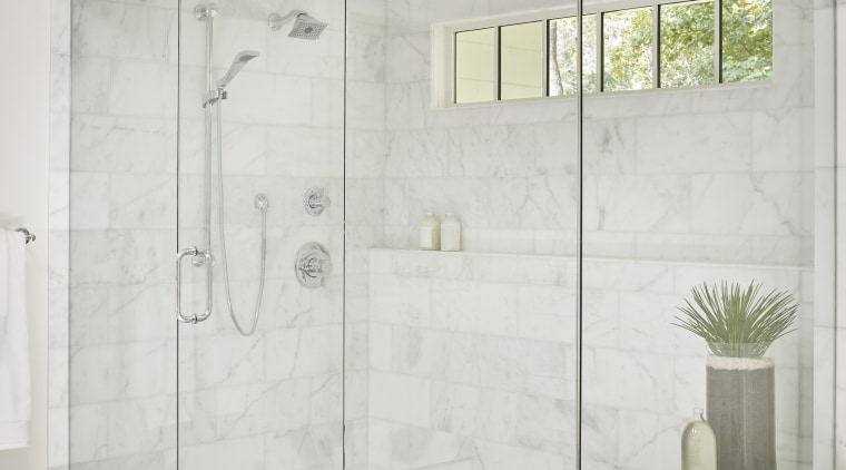 ​​​​​​​A combination of fixed showerhead and an adjustable bathroom, floor, glass, plumbing fixture, shower, tap, tile, white, enclosed shower, Mark Williams Design
