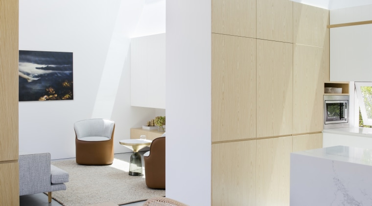 Shafts of sunlight on the walls indicate the architecture, home, house, interior design, wood, timber Table,  Studio prineas