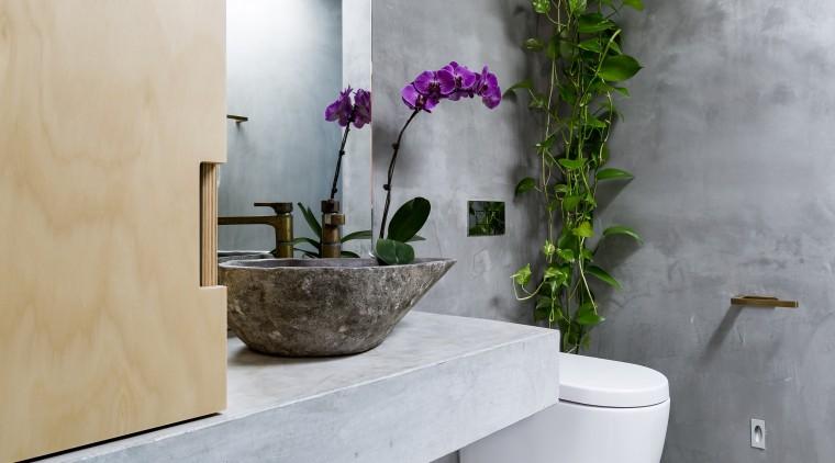 An Illume, solar-powered skylight alternative brings a beautiful architecture, bathroom, floor, home, house, interior design, room, tap, tile, wall, gray, concrete vanity top, Arc Seven