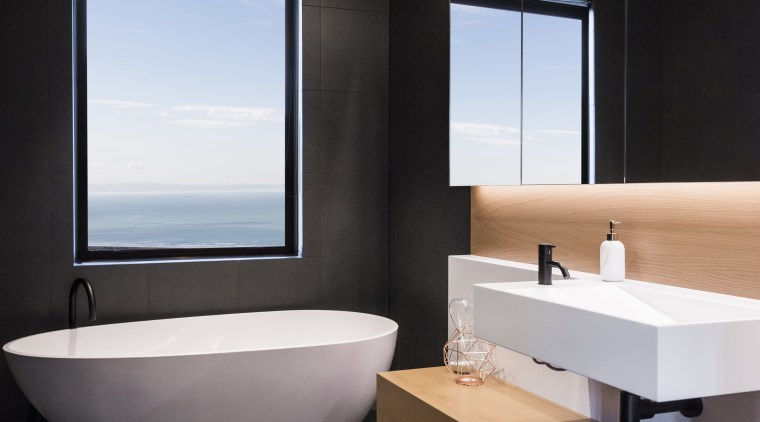 ​​​​​​​To achieve the effect you want in a bathroom, floor, tiles, interior design, sink, gray, black, freestanding bath, timber vanity top, Davinia Sutton