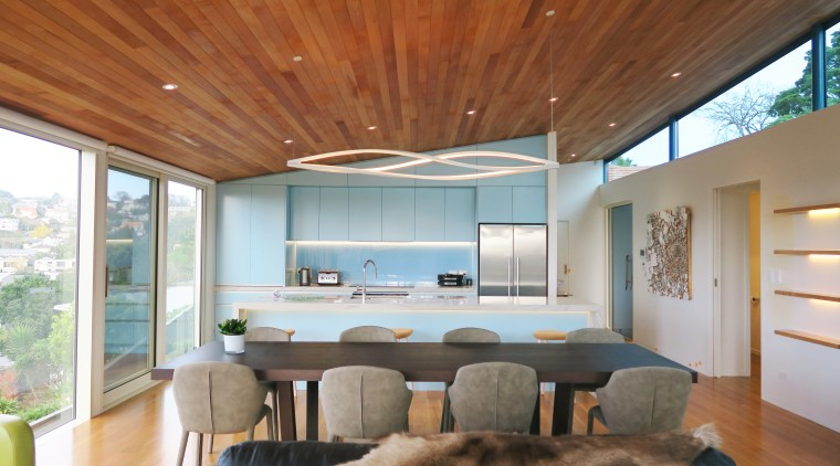 ​​​​​​​In this kitchen, the pale blue tone seen architecture, home, house, interior design, living room, window, kitchen, Frans Kamermans, timber floor, ceiling