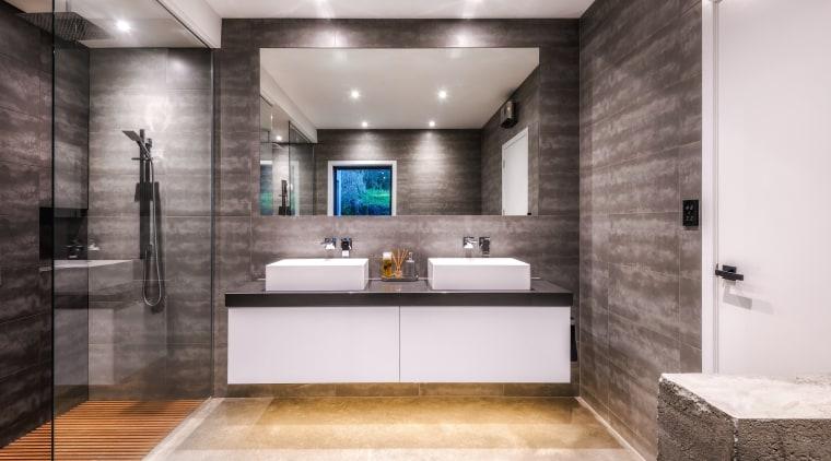 Designer Kirsty Davis adjusted the initial plan for bathroom, interior design, vanity, Kirsty Davis, master suite, grey tiles, double shower