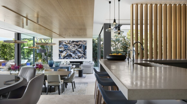 Natural materials such as travertine floors and timber architecture, dining room, house, interior design, living room, dining table, SAOTA, timber