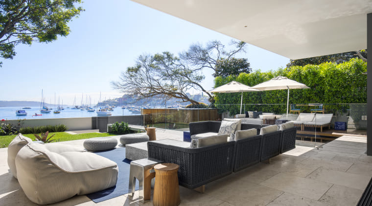 You can use interesting pieces of furniture architecture, home, house, outdoor patio, outdoor furniture, umbrella, SAOTA