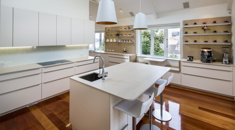 Two sinks, myriad benchtops and plenty of space cabinetry, benchtop, timber flooring, interior design, kitchen, white
