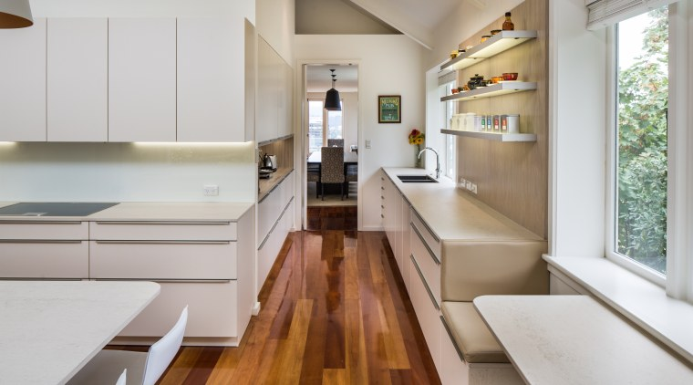 ​​​​​​​As part of this kitchen design, the owners benchtop, timber floor, interior design, kitchen, Damien Hannah, German Kitchens