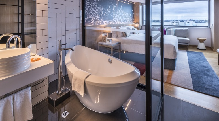 Bath with a view. Guests at Auckland's M bathroom, interior design, hotel, M Social