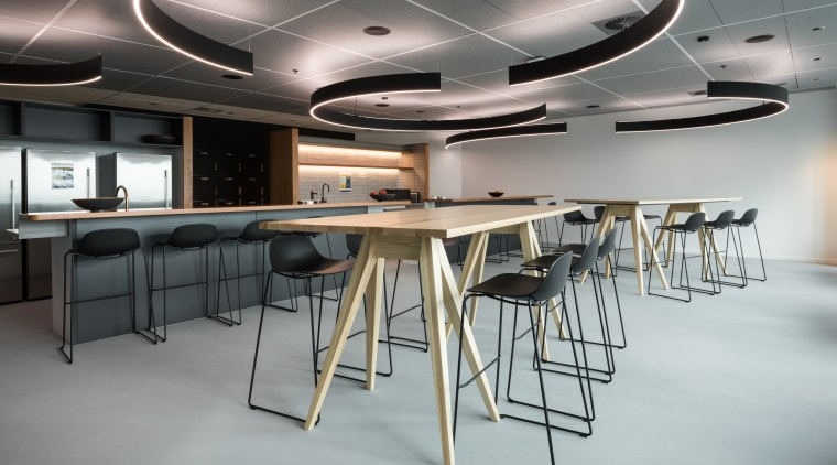 Commercial specialists Aspect Furniture manufactured and sourced a ceiling, conference hall, furniture, interior design, office, table, gray