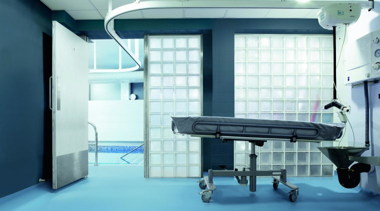 Healthcare environments require durable, non-slip surfaces and Polyflor ceiling, daylighting, floor, hospital, interior design, structure, teal, white