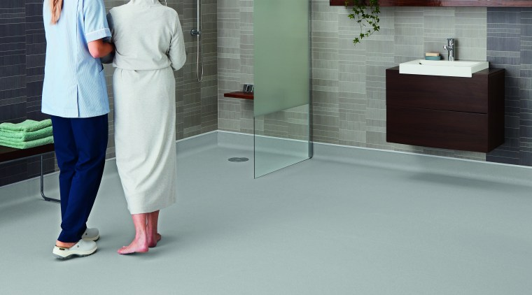 Polyflor offers modern vinyl floors to suit a floor, flooring, standing, tile, gray