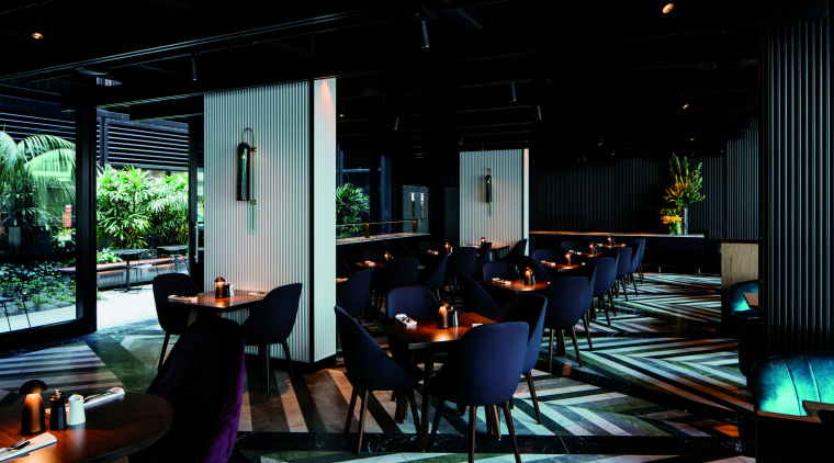 The ground-floor restaurant at West Hotel, Sydney looks interior design, lighting, restaurant, black
