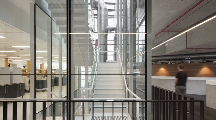 Stairs through the link atrium in the research architecture, building, daylighting, floor, glass, handrail, lobby, stairs, structure, gray