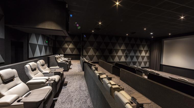 One of the two Lux cinemas on the auditorium, interior design, black